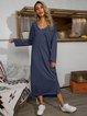Blue Cotton-Blend Shift Long Sleeve Dresses