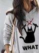 Halloween Black Cat Print Casual Sweatshirt