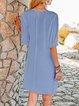 Blue Half Sleeve Plain A-Line Cotton-Blend Dresses