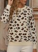 Leopard Long Sleeve Cotton-Blend Shift Sweater