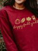 Thanksgiving Letter Print Long Sleeve Round Neck Sweatershirt