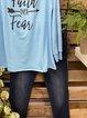 Faith Over Fear Letter Print Long Sleeve Tee Tops