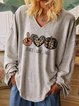 PEACE LOVE FALL Pumpkin Print Casual V-Neck Long Sleeve T-Shirt