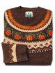 Pumpkin Print Long Sleeve Round Neck Knit Sweater