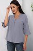 Gray Plain V Neck Casual Shirts & Tops
