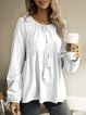 White Long Sleeve Plain Crew Neck Cotton Shirts & Tops