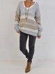 Light Gray Long Sleeve Knitted Plain Sweater