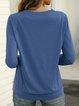 Solid Crew Neck Versatile Long Sleeve T-shirt