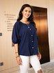 Blue Long Sleeve Paneled Casual Shirts & Tops