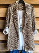 Leopard Leopard Cotton-Blend Shift Long Sleeve Outerwear