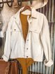 White Cotton-Blend Casual Outerwear