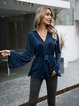 Blue Solid Holiday Cotton-Blend Paneled Shirts & Tops