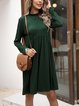 Green Floral Cotton-Blend Casual Swing Dresses