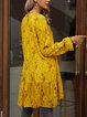 Yellow Long Sleeve Holiday Cotton-Blend Swing Dresses