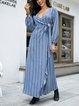 Blue Paneled Casual Striped A-Line Dresses