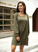 Green A-Line Square Neck Long Sleeve Dresses
