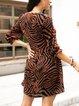 Brown V Neck Cotton-Blend Boho Leopard Dresses