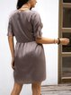 Gray Cotton-Blend V Neck A-Line Half Sleeve Dresses