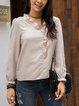 Apricot Paneled Cotton-Blend V Neck Long Sleeve Shirts & Tops