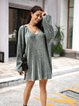 Green Floral A-Line Long Sleeve Casual Dresses