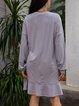 Gray A-Line Cotton-Blend Long Sleeve Crew Neck Dresses