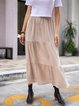 Coffee Cotton-Blend Gathered Solid Casual Skirts