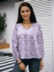 Purple Cotton-Blend Long Sleeve Paneled Shirts & Tops