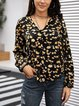 Black Cotton-Blend Floral Holiday Shirts & Tops