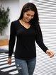 Black V Neck Long Sleeve Shirts & Tops