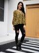 Black Floral Long Sleeve V Neck Paneled Shirts & Tops