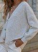 White Cotton-Blend Plain Casual Shift Sweater