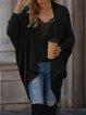 Long Sleeve Plain Cotton-Blend Sweater