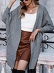 Long Sleeve Plain Cotton-Blend Casual Sweater