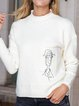 White Shift Abstract Long Sleeve Sweater