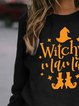Halloween Witchy Mama Print Round Neck Sweatshirt