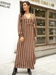 Brown Cotton-Blend Long Sleeve Striped Paneled Dresses