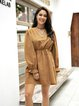 Yellow Casual Cotton-Blend Paneled Dresses
