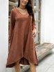 Brown Cotton-Blend Long Sleeve V Neck Dresses