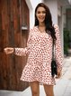 Red Cotton-Blend Long Sleeve Dresses