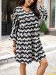 Black 3/4 Sleeve Cotton-Blend Paneled Dresses