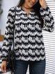 Black Cotton-Blend Long Sleeve V Neck Shirts & Tops