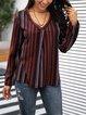 Brown Holiday V Neck Printed Striped Shirts & Tops