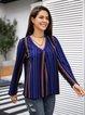 Blue 3/4 Sleeve Cotton-Blend Striped Shirts & Tops