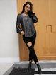 Gray Ruffled Long Sleeve Shirts & Tops