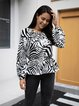 White Casual Cotton-Blend Zebra Long Sleeve Shirts & Tops