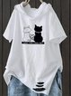 Hoodie Cotton Cat Printed Casual  Tops