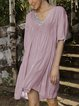 Pink 3/4 Sleeve V Neck Dresses With Necklace