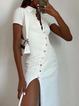 Elegant Cotton-Blend Shirt Collar Dress