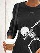 Halloween Skull Print Round Neck Casual Sweatshirt