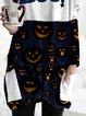 Halloween Pumpkin Print Casual Sweatshirt